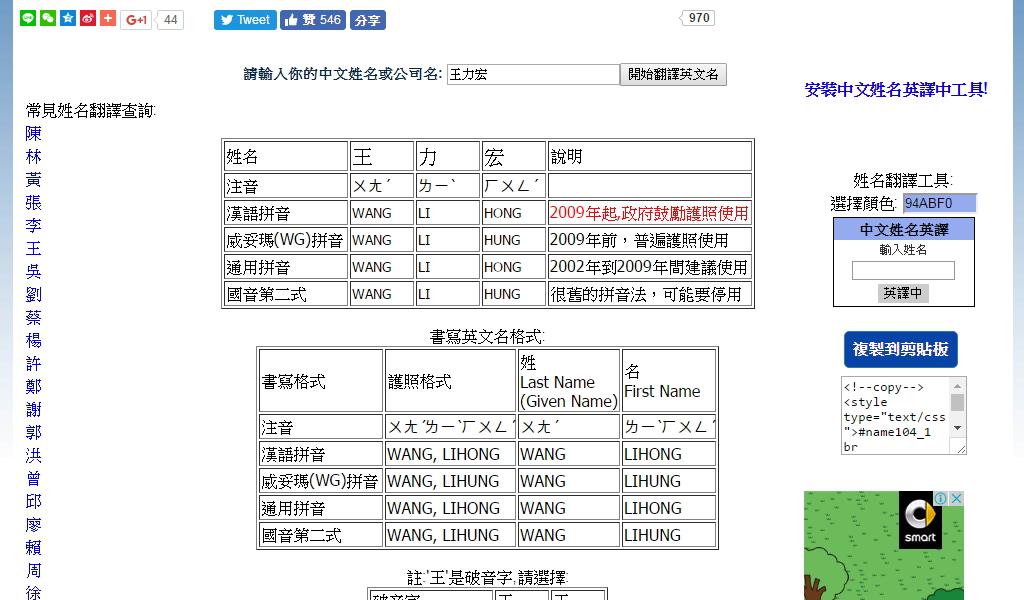 中文姓名英譯 EnglishName.org